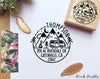 Camping Return Address Stamp, Round Address Stamp with Camper Van and Mountains - PinkPueblo