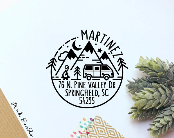 Self Inking Return Address Stamp with Camper Van and Mountains, Outdoors Round Self Inking Return Address Stamp - PinkPueblo