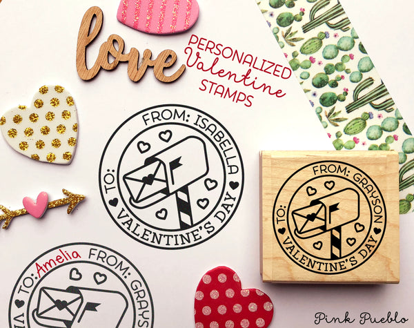 To From Valentine's Day Stamp, Valentine Stamp Perfect for Valentines Day Cards and Gift Tags - PinkPueblo