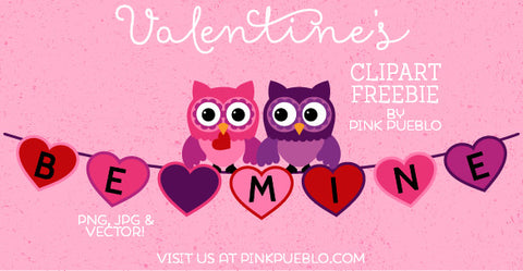 Valentine's Day Freebie - Owls and Bunting Clipart and Vectors - PinkPueblo