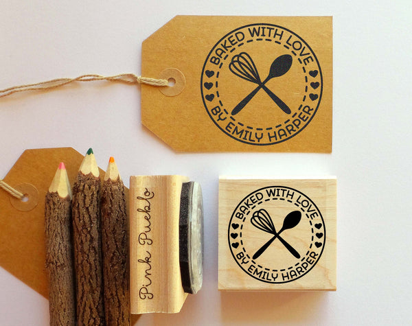 Personalized Baking and Cooking Rubber Stamp, Baked with Love Stamp with Whisk and Spoon - PinkPueblo