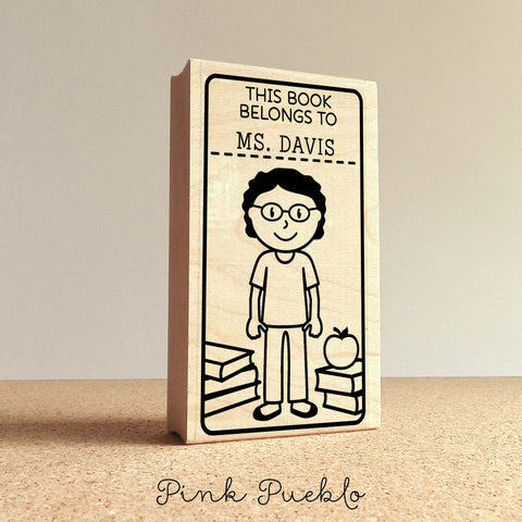 Teacher Book Stamp, Personalized Custom Bookplate Rubber Stamp, Teacher Stamps - Choose Hairstyle, Clothing and Name - PinkPueblo