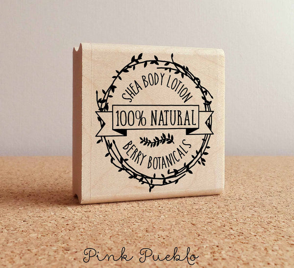 Personalized Botanical Wreath Rubber Stamp, Custom Product Label Stamp for Bath and Beauty Products