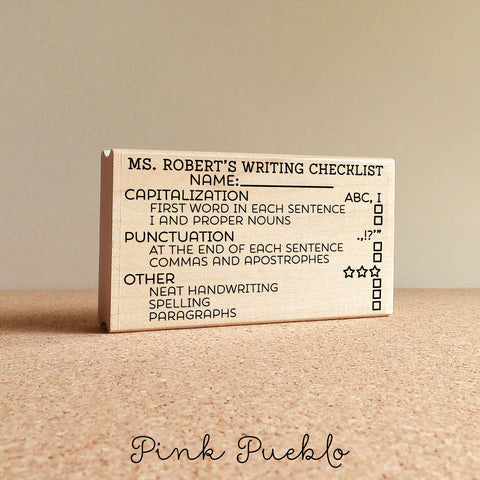 Personalized Teacher Stamp, Writing Checklist Stamp, Teacher Appreciation Gift - PinkPueblo