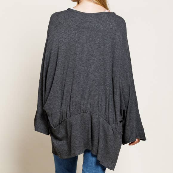 Thermal knit kimono in charcoal