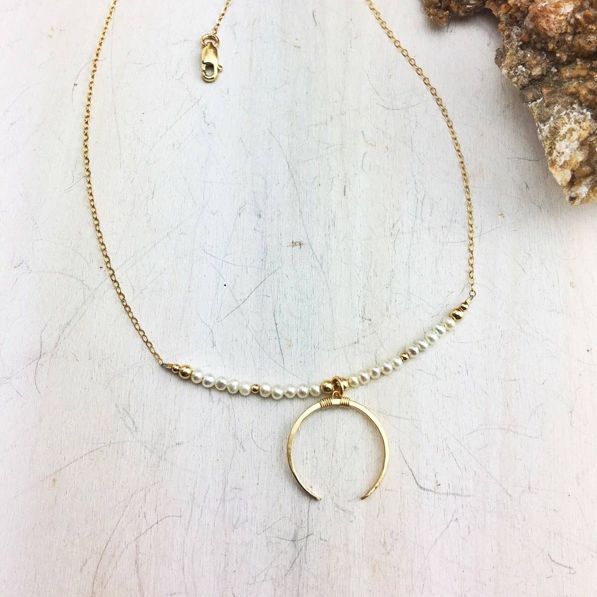 Freshwater Pearl 14k Gold Filled Crescent And Chain