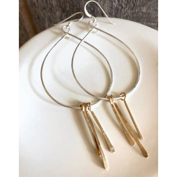 Quinn Teardrop Hoops With Hammered Spikes