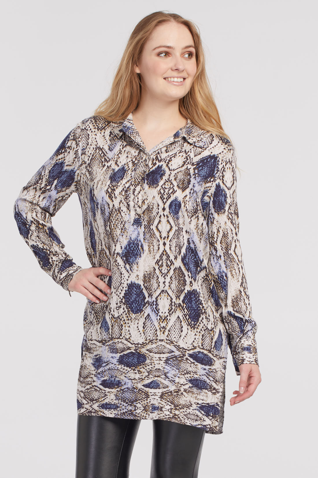Tribal L/S Tunic Blouse with Placket