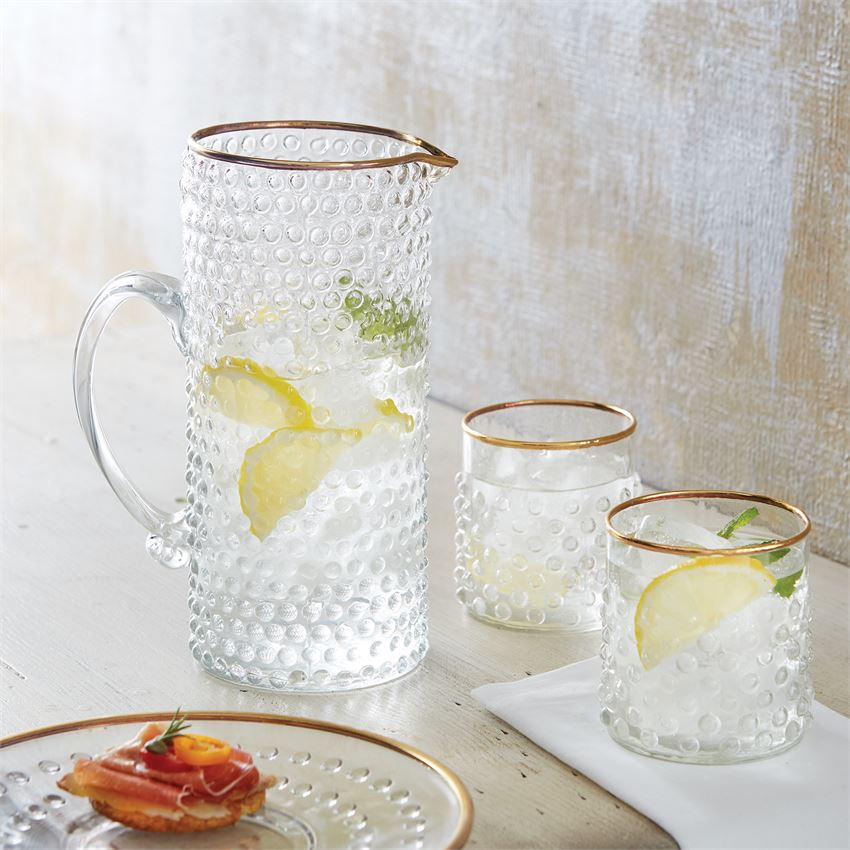 Gold Rimmed Bubble Glass Pitcher