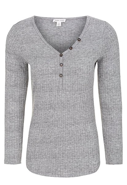 TRIBAL long sleeve ribbed henley