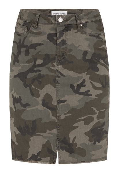 Tribal camo skirt with front slit