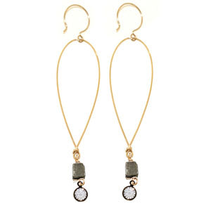 Ronda Smith Gold earring teardrop with pyrite cube and rhinestone.