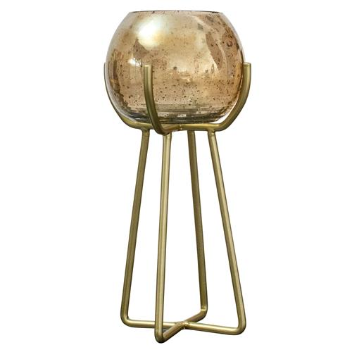 Retro Luster Bubble Glass Candle Holder...TALL Gold or Silver