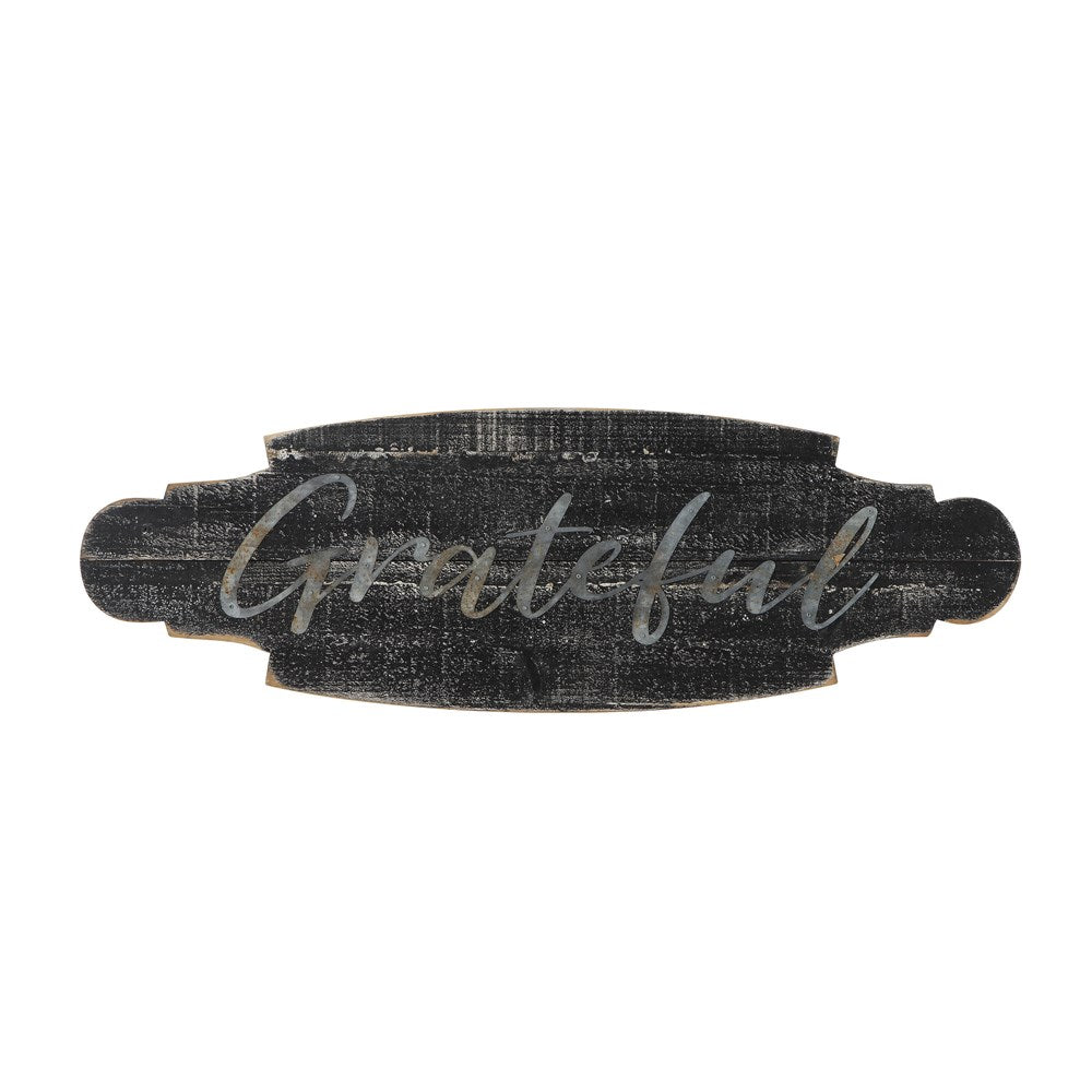 Grateful Distressed Black Wall Hanging