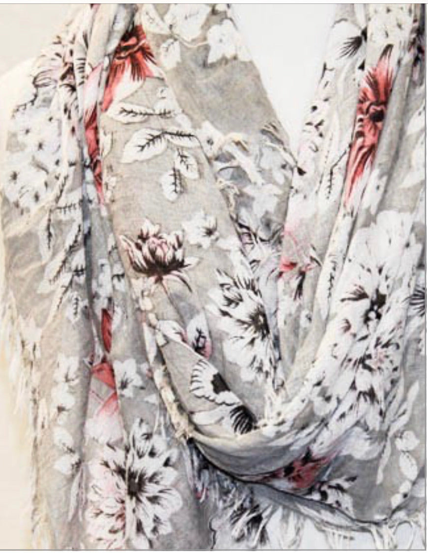 JC Floral cotton scarf
