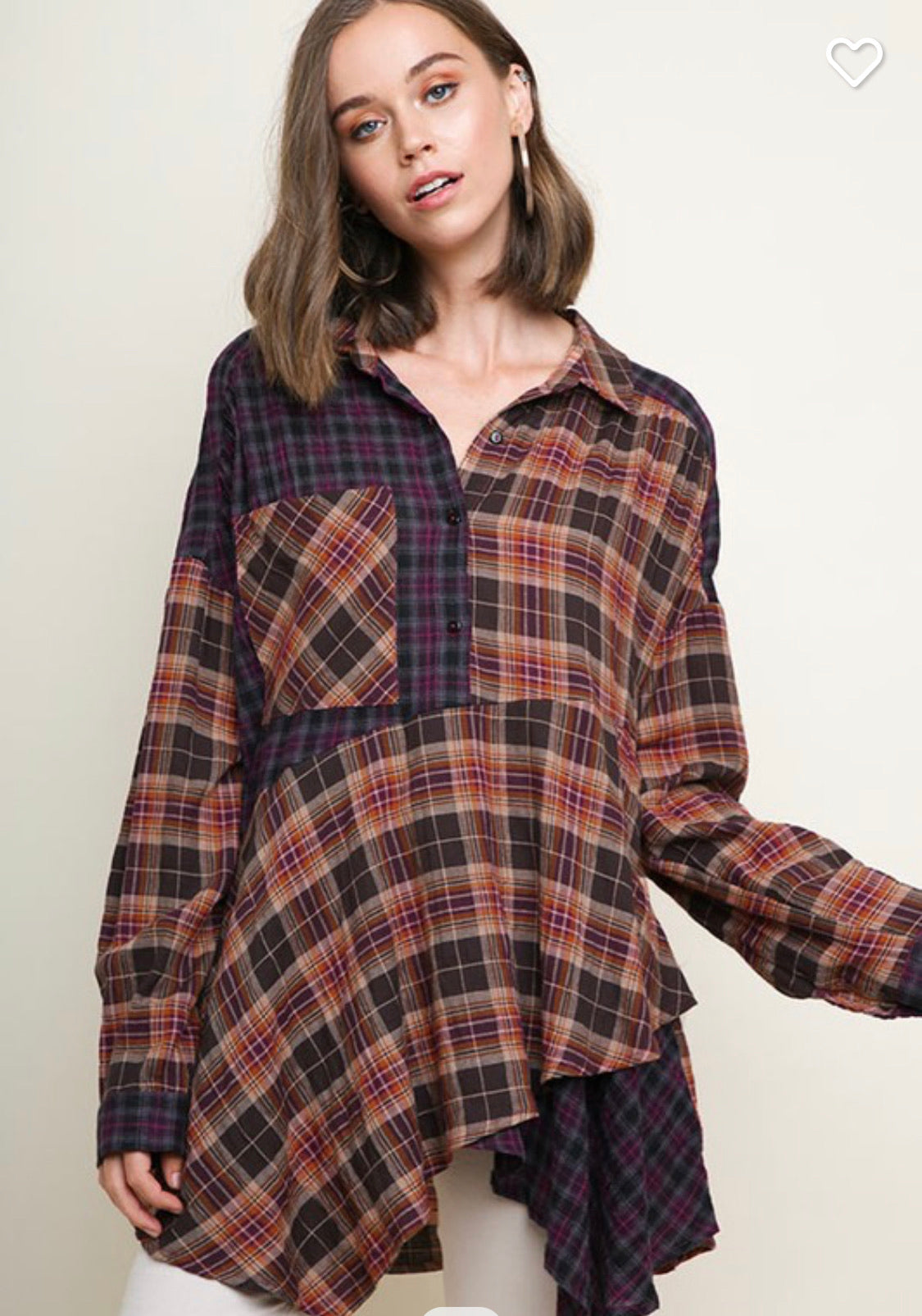 Plaid Collared Tunic Top