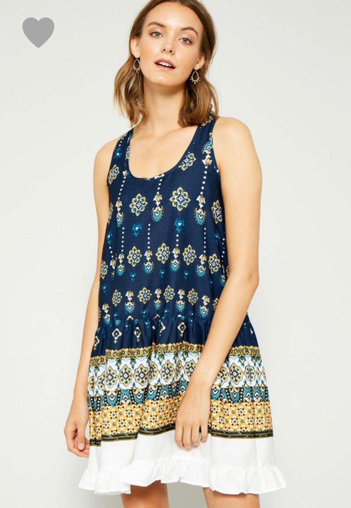 Hayden Ruffled border print tank dress
