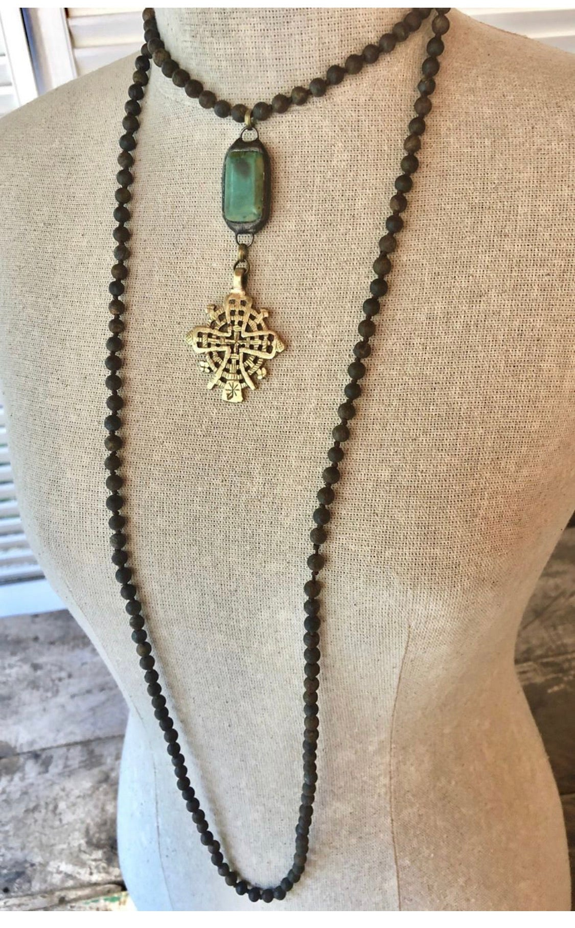 Funky wrap necklace in matte bronzite