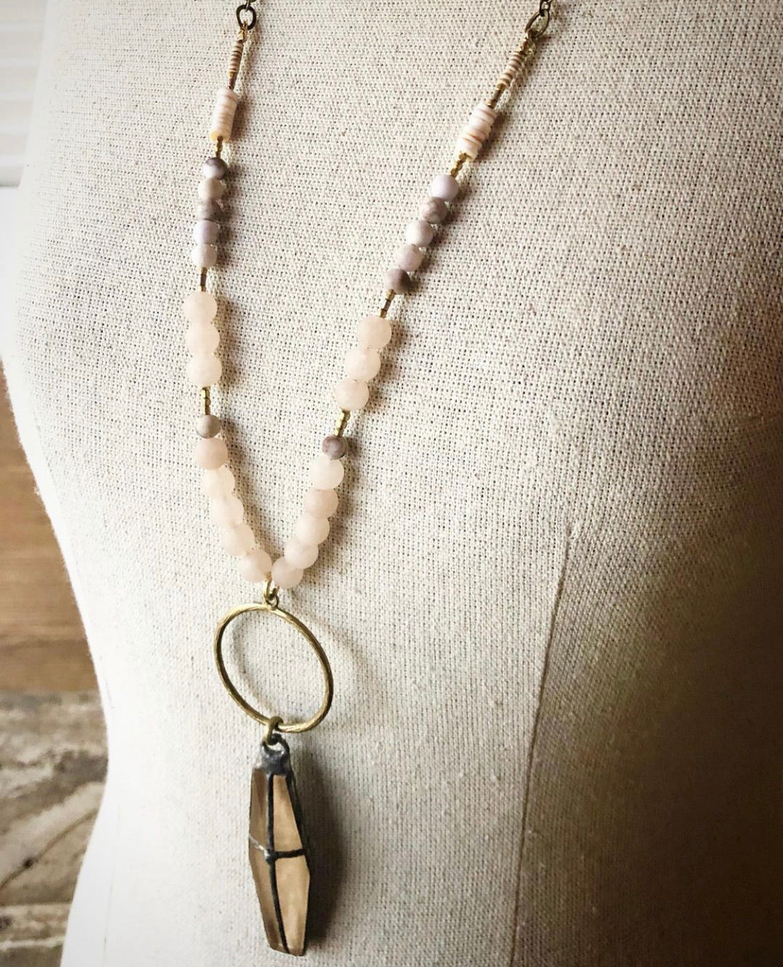 Funky Soft Hues Necklace with handsoldered cross