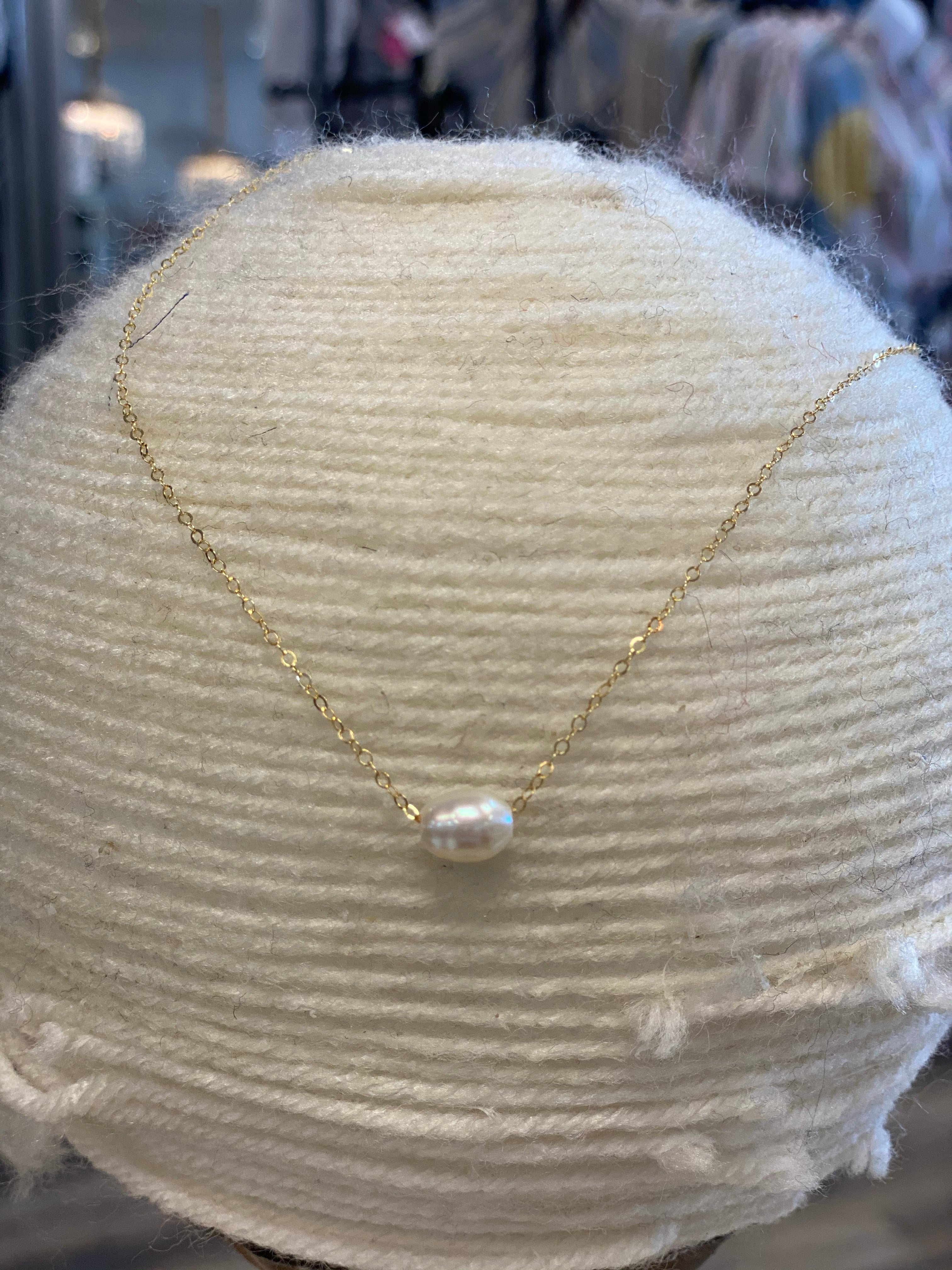 Single Pearl on 14k gold filled
