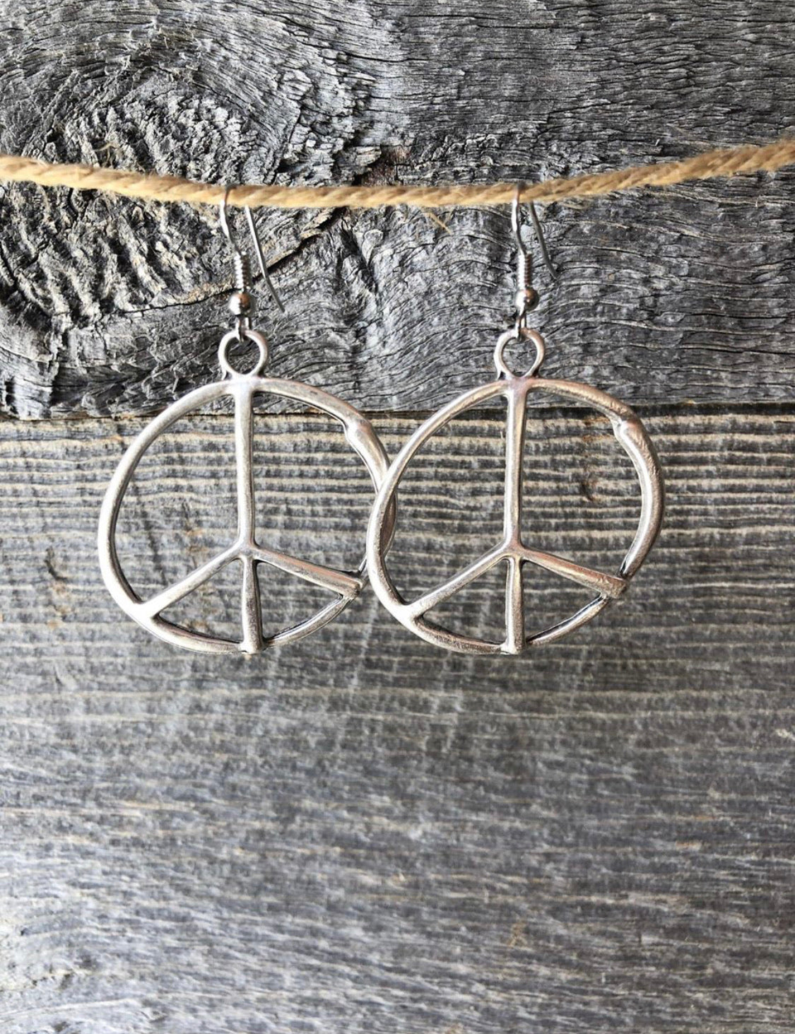Funky Silver Peace Earrings