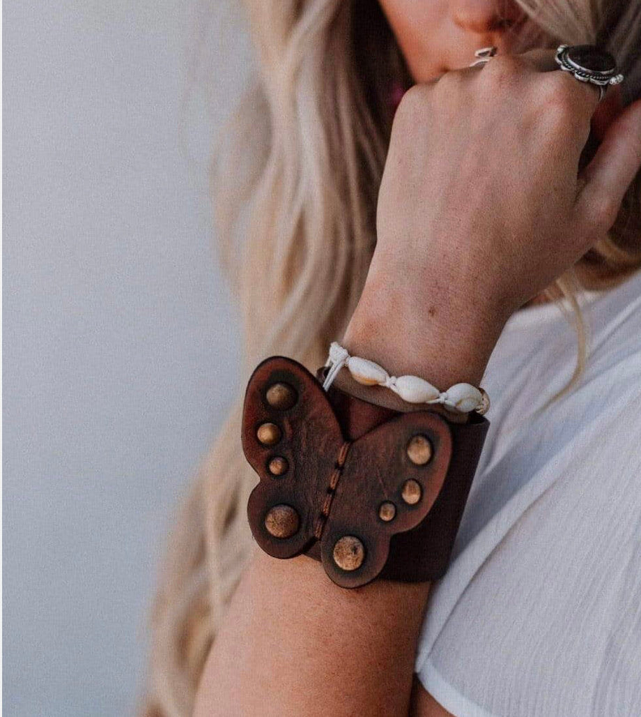 Butterfly Boho Leather Cuff