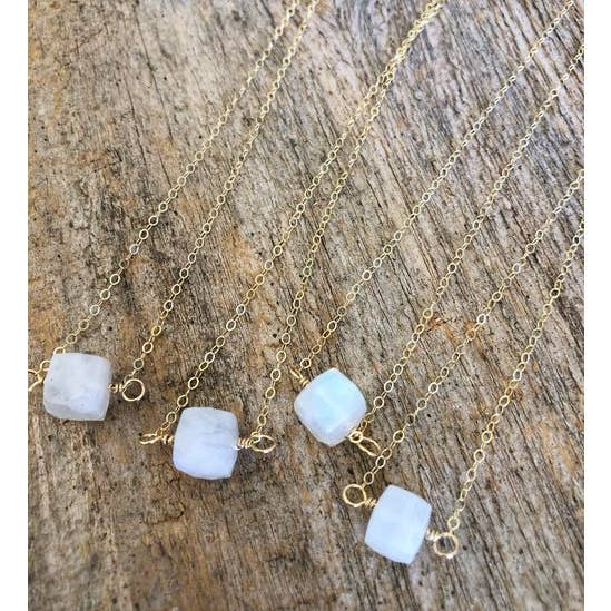 Quinn Moonstone cube necklace on sterling chain