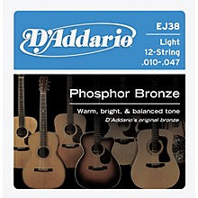EJ38 coated phosphor bronze acoustic guitar 12-string set 10-47