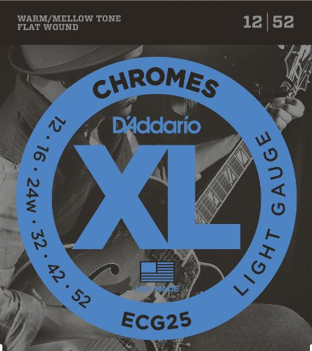 ECG25 chromes flat wound guitar strings 12-52