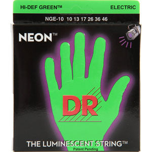 DR neon green electric guitar strings 10-46