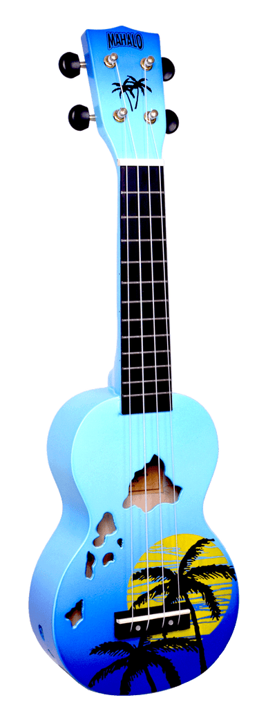 Mahalo Hawaii Soprano Ukulele Blue Burst