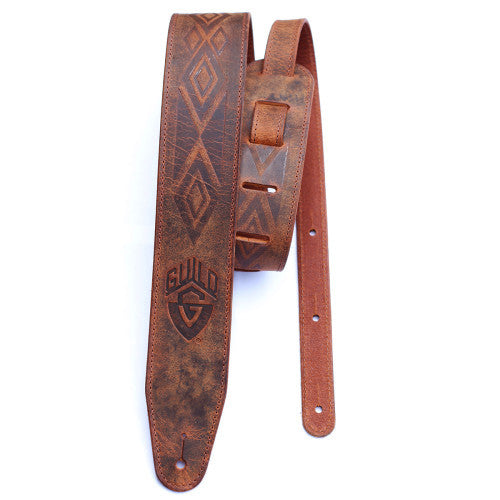 Tooled Americana Leather Guitar Strap