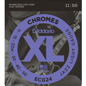 D'Addario ecg24 chromes flat wound guitar strings 11-50