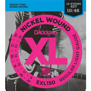 D'Addario exl150 nickel electric 12-string guitar strings 10-46