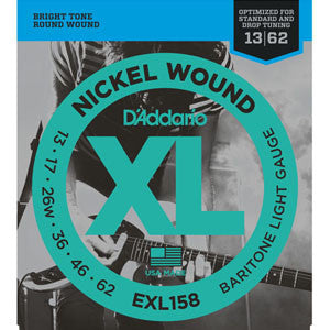 D'Addario exl158 nickel electric baritone/drop tuning guitar strings 13-62