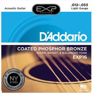 EXP16 D'Addario coated phosphor bronze acoustic guitar strings 12-53