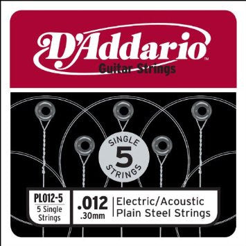 D'Addario PL012-5  5 Single Electric/Acoustic Steel Strings .012