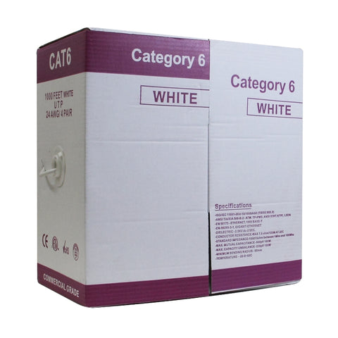 CB6C1KL  CABLE UTP CAT6 1000F OR PULL BOX, ETL CERTIFIED, COLOR WHITE