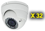 "BULK discount: (32) 1/3"" Color Vandal Proof Dome Cameras"