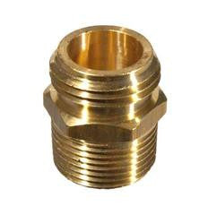 "Brass Male Garden Hose Thread with 3/4"" MPT & 1/2"" FPT"