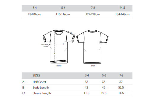 Little Nutkins Organic T-Shirt Size Guide