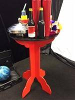 Round Top Folding Wood Table in Red/Black - Diamond's Magic