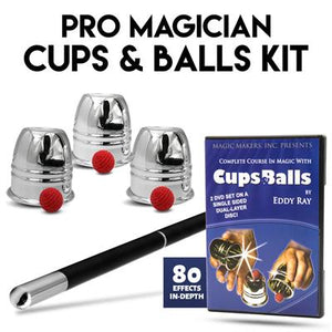 PRO MAGICIAN CUPS & BALLS KIT -WITH MAGIC WAND AND DVD