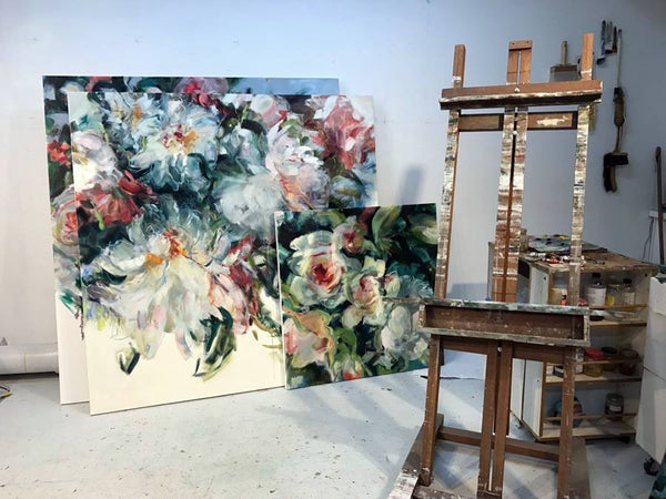 Jamie Evrard floral artwork presented by Bau-Xi Gallery