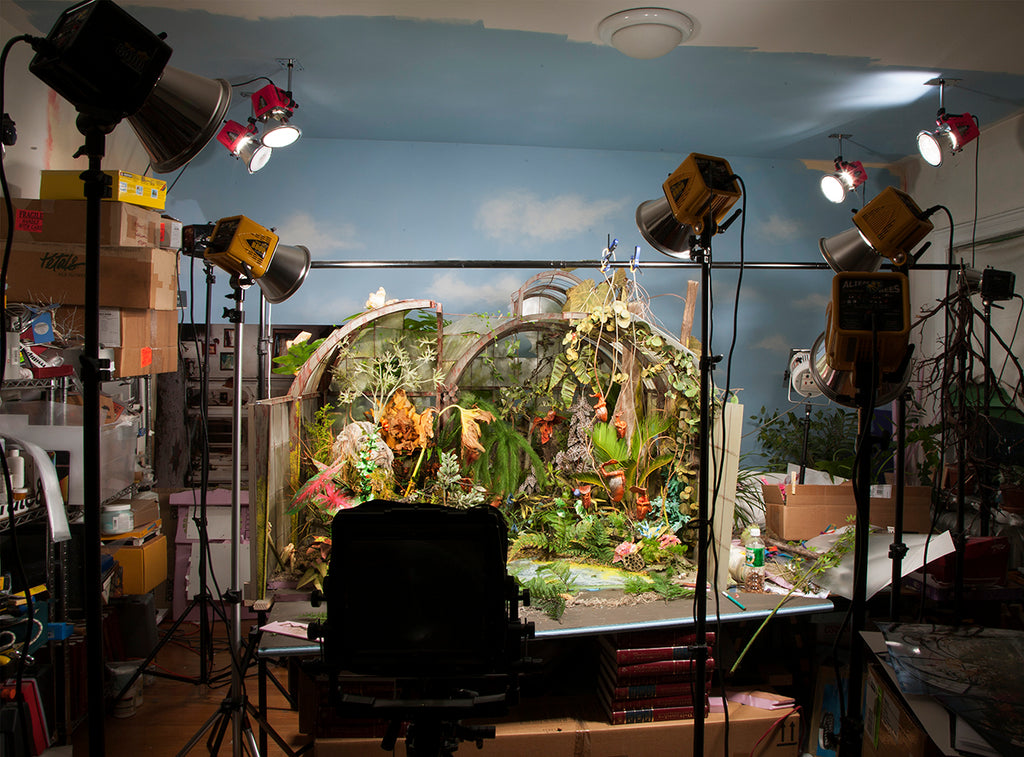 Lori Nix behind-the-scenes image of Botanic Garden presented by Bau-Xi Gallery