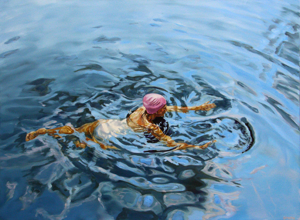 Vicki Smith swimmer painting presented by Bau-Xi Gallery