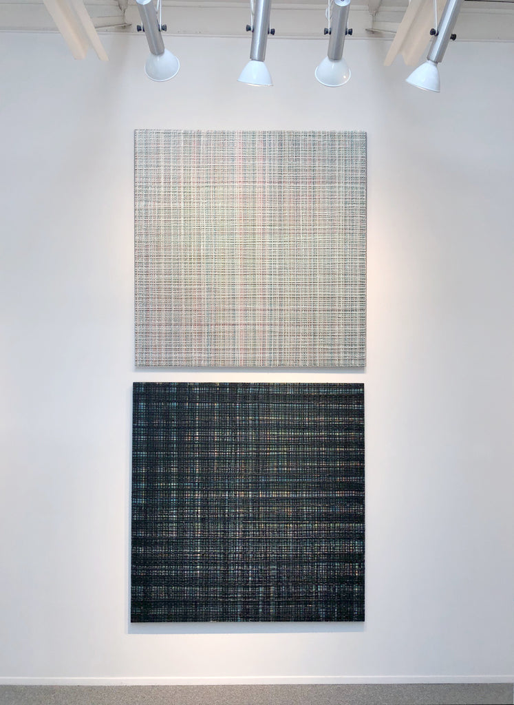 Vicky Christou Artwork | Minimalist, sculptural, textile-inspired, colour field grid paintings.