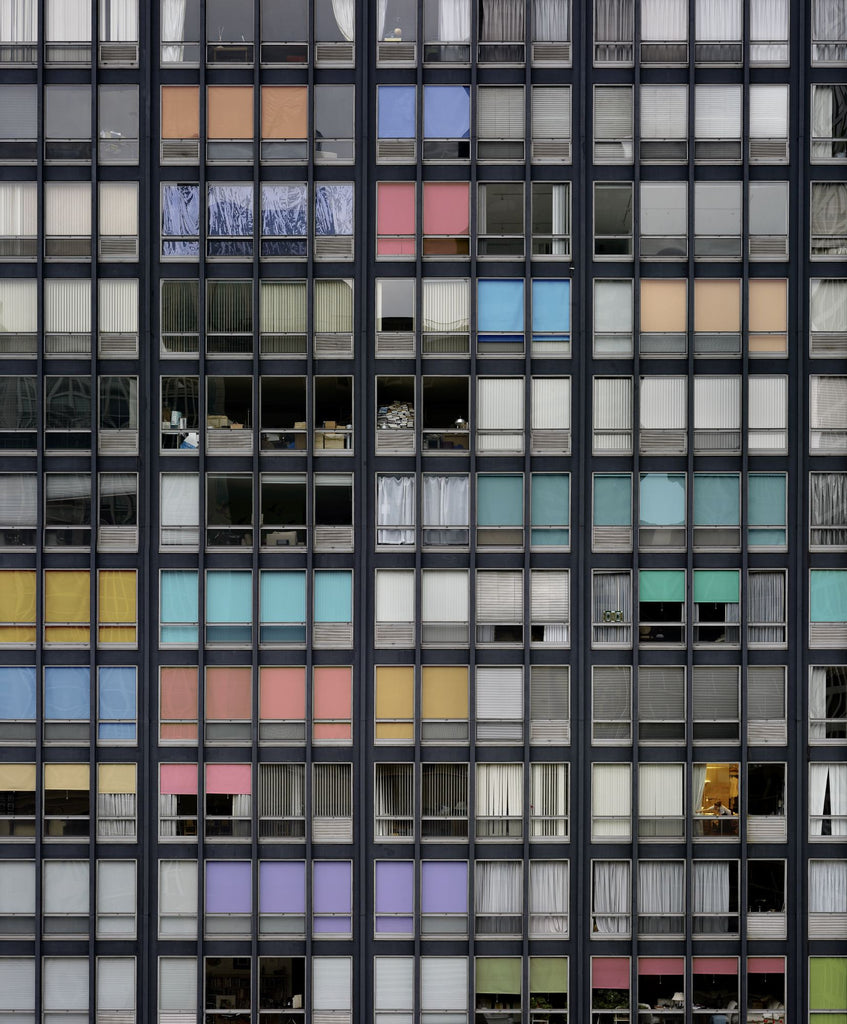Michael Wolf Artwork | Dramatic muted large-format architectural photographs of Hong Kong Chicago and Paris, portraits from the Tokyo subway.