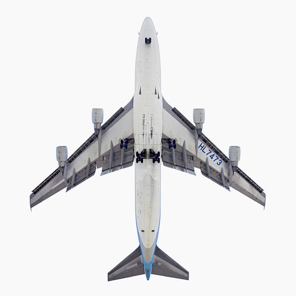 Jeffrey Milstein - Korean Air Boeing 747-400, Archival Inkjet Print Mounted on Archival Substrate, Framed in White with Plexiglass,  - Bau-Xi Gallery