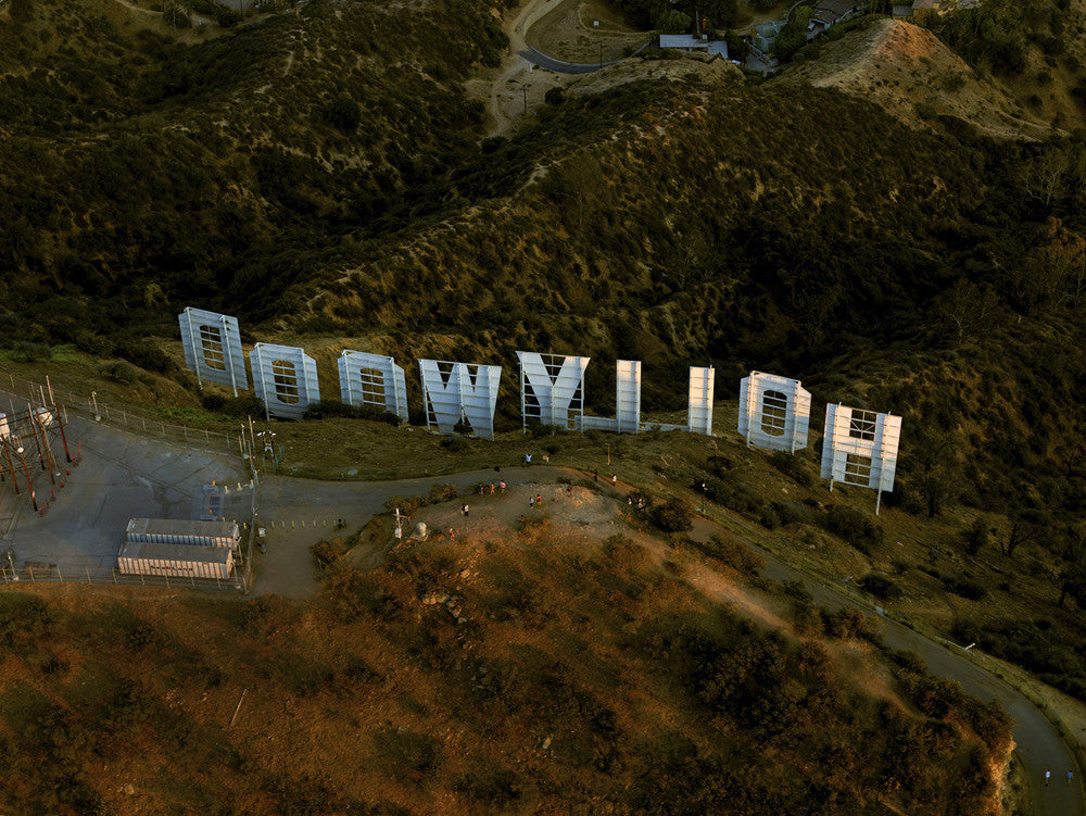 Jeffrey Milstein - Hollywood Sign, Archival Inkjet Print Mounted on Archival Substrate, Framed in White with Plexiglass,  - Bau-Xi Gallery